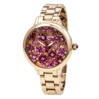 Betsey Johnson BJ00443-02 Women's Multicolored Flowers Rose Gold Dial Rose Gold Steel Crystal Watch