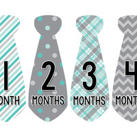 Baby Boy Monthly Necktie Milestone Birthday Tie Stickers Style #712