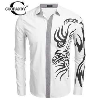 COOFANDY Men's Turn Down Collar Long Sleeve Print Patchwork Casual Button Down Shirt