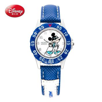 100% Disney children pretty Mickey mouse cartoon lovely watch Best fashion casual simple quartz round leather watches Boy