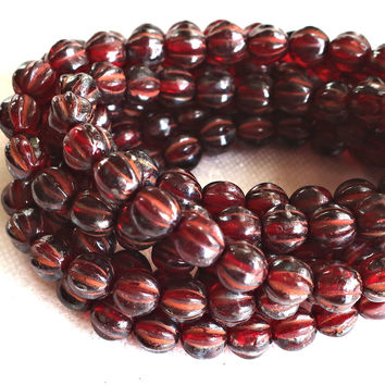 25 opaque red picasso melon beads, 6mm pressed Czech glass beads C2701