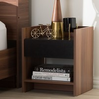 Vanda Modern and Contemporary Two - Tone Wood 1 - Drawer Nightstand - Brown - Baxton Studio