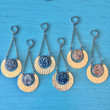 Eclipse Druzy Earrings Hammered Brass Crescent Moon Faux Hematite Geode Stone Dangle Blue Bronze Jewelry