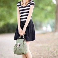 Women's Stripe Cotton Dress With Waist Tie Short Sleeves Round Neck Design