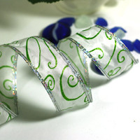 Christmas Ribbon: White Wire Edged Ribbon with Green Glitter Swirls and silver edge - 3 yards - 1 1/2 inch wide