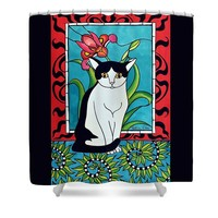 Pretty Me In Tuxedo Shower Curtain for Sale by Dora Hathazi Mendes