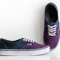 Dip dye Vans Authentic, purple, navy blue ombré tie dye, skate shoes, upcycled vintage sneakers, size EU 39 (UK 6, us men 7, us women 8.5)