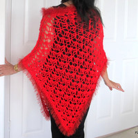 Asymetrical lacy poncho, Red hand crochet poncho, Valentines gift for her