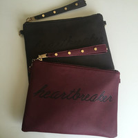 "Studded Jumbo ""heartbreaker"" Clutch Bag - Carry All - Gold Studded Wristlet Strap - 2 Colors"