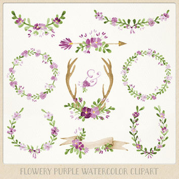 Watercolor Clipart Purple Wreaths, Laurels, Banner, Flowers, Ampersand, Antlers, Arrow perfect for Floral wedding chalk wall art & more