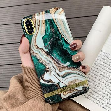 Artistic Agate Marble Gold Bar Phone Case