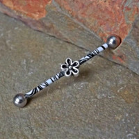 Flower Silver Imprinted Industrial Barbell 14ga Body Jewelry Ear Jewelry Double Piercing