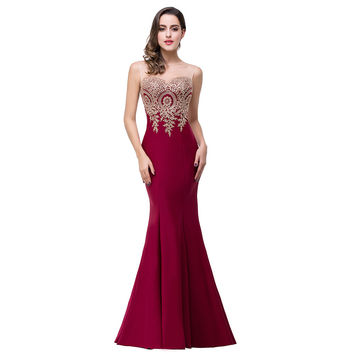 Real Photos Robe De Soiree 2016 Long Formal Burgundy Mermaid Prom Dresses Sexy Party Evening Dresses Vestido De Festa