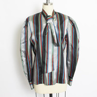 Vintage 1980s Blouse - Metallic Striped Long Sleeve Top - Large