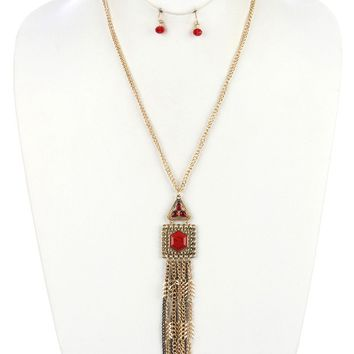 Red Aged Finish Metal Long Chain Fringe Necklace And Earring Set