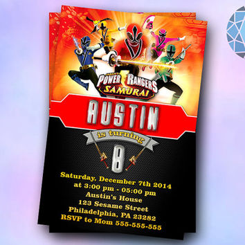 Power Ranger Samurai Invitation on SaphireInvitations