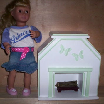 Doll fireplace doll furniture handcrafted for American girl doll green butterfly design