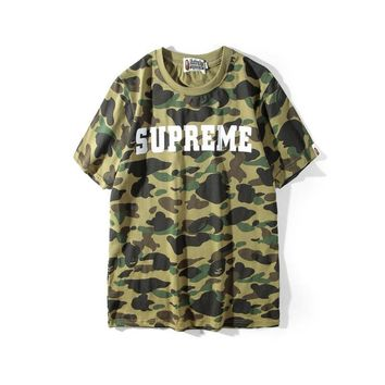 Short Sleeve Summer Camouflage Alphabet Print Cotton T-shirts [353205288996]