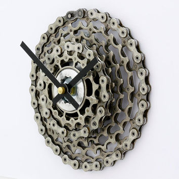 Bike Gear Clock, Bicycle Gear Clock,Bicycle Wall Clock, Steampunk, Upcycled Bike Parts, SRAM, Gift for Cyclist, Gear Clock, Steampunk Clock
