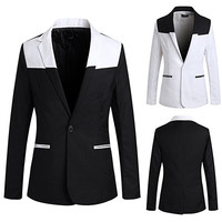 Black and White Slim Fit Color Contrast Blazer