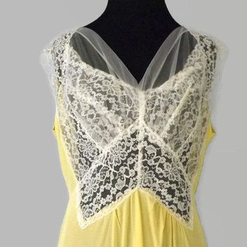 Feminine Lace and Chiffon Long Pale Yellow Gown Night Gown Nightgown Trousseau Anniversary Wedding See Through and Semi Sheer L XL