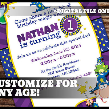 Wizard Theme 1st Birthday Invitation First Birthday Party Magic Fantasy Purple Blue Yellow Digital Printable Customized Personalized 5x7