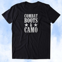 Combat Boots & Camo Shirt USA America Proud Army Military Troops Tumblr T-shirt