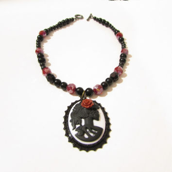 Lolita Skeleton Cameo Necklace, Black and Red Gothic Skeleton Necklace, 12 inches, custom necklace