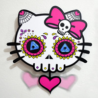 Hello Kitty Sugar Skull - Pendulum Wall Clock