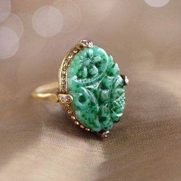 Vintage Jade Glass Ring, Art Deco, Unique & Hand Made