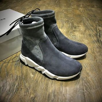 ONETOW Best Online Sale Balenciaga Speed HIGH Scrub Ankle Boots Sport Shoes Grey White Color
