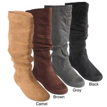 Bamboo by Journee Women's Slouchy Microsuede Boots | Overstock.com
