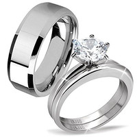 His & Hers Classic 3 Pcs Men's Tungsten Band Women's Round Cut Stainless Steel Wedding Engagement Ring Set