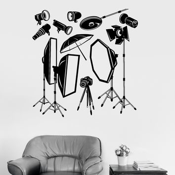 Vinyl Wall Decal Photo Studio Equipment Photographer Stickers Mural Unique Gift (051ig)