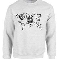 Adult Crewneck World Map Compass Cool Stuff Trendy Top