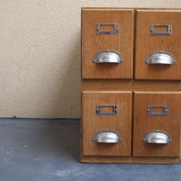 Wooden Industrial Card Filing Cabinet
