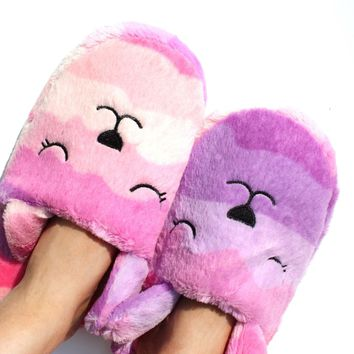 Pink And Purple Gradient Bunny Rabbit Shaped Slip On Slippers For Women