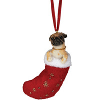 Tan Pug in Stocking Christmas Ornament
