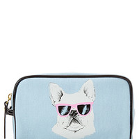 FOREVER 21 French Bulldog Cosmetic Bag Blue/White One
