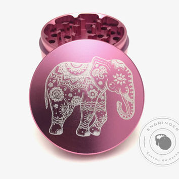 Custom Weed Grinders - Elephant on a pink grinder