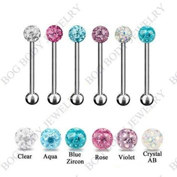 ac DCCKO2Q 1pc Tongue Piercing Stainless Steel Barbell Multi Epoxy CZ Gem Crystal Jewelry Bead Ball Tongue Bar