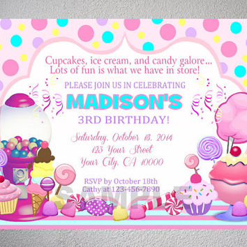 Candy Shoppe Invitation, Sweet Shoppe, Ice Cream, Candy Shop Birthday Party Invitation With Free Thank You Card - Printable, Digital Files
