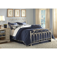 Queen-Size Ornate Metal Bed with Headboard & Footboard