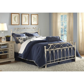 Full-Size Ornate Design Metal Bed with Headboard & Footboard