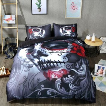 Black Skull Bedding Set Halloween Style Bed Sheet Queen King Double Bed Linen Cotton Blend Flower Skull Duvet Cover Set