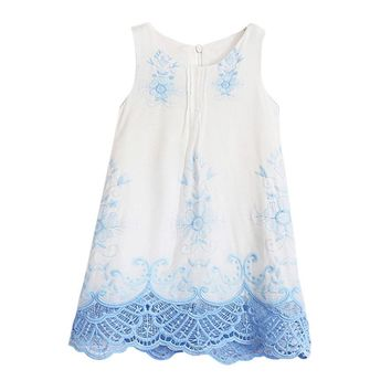 2T-Size 9 Baby Girls Princess Sleeveless Embroidered Dress