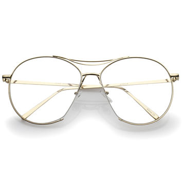 Oversize Retro Modern Clear Lens Aviator Glasses C132