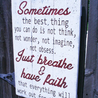 Just Breathe And Have Faith Pallet Sign Vintage Wood Wall Decor Inspirational Wood Sign Shabby Chic Decor Handmade Handpainted Wall Art