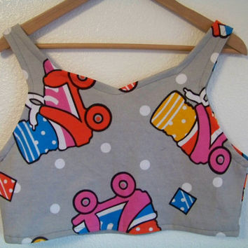 S / M / L ROLLER SKATES Retro 80's // 90's Crop Tank Top T Shirt // X / Small // Medium // Large 1980s 1990s