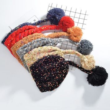 Women Cute Multicolor Hairball Manual Knit Beanie Hat Winter Accessories